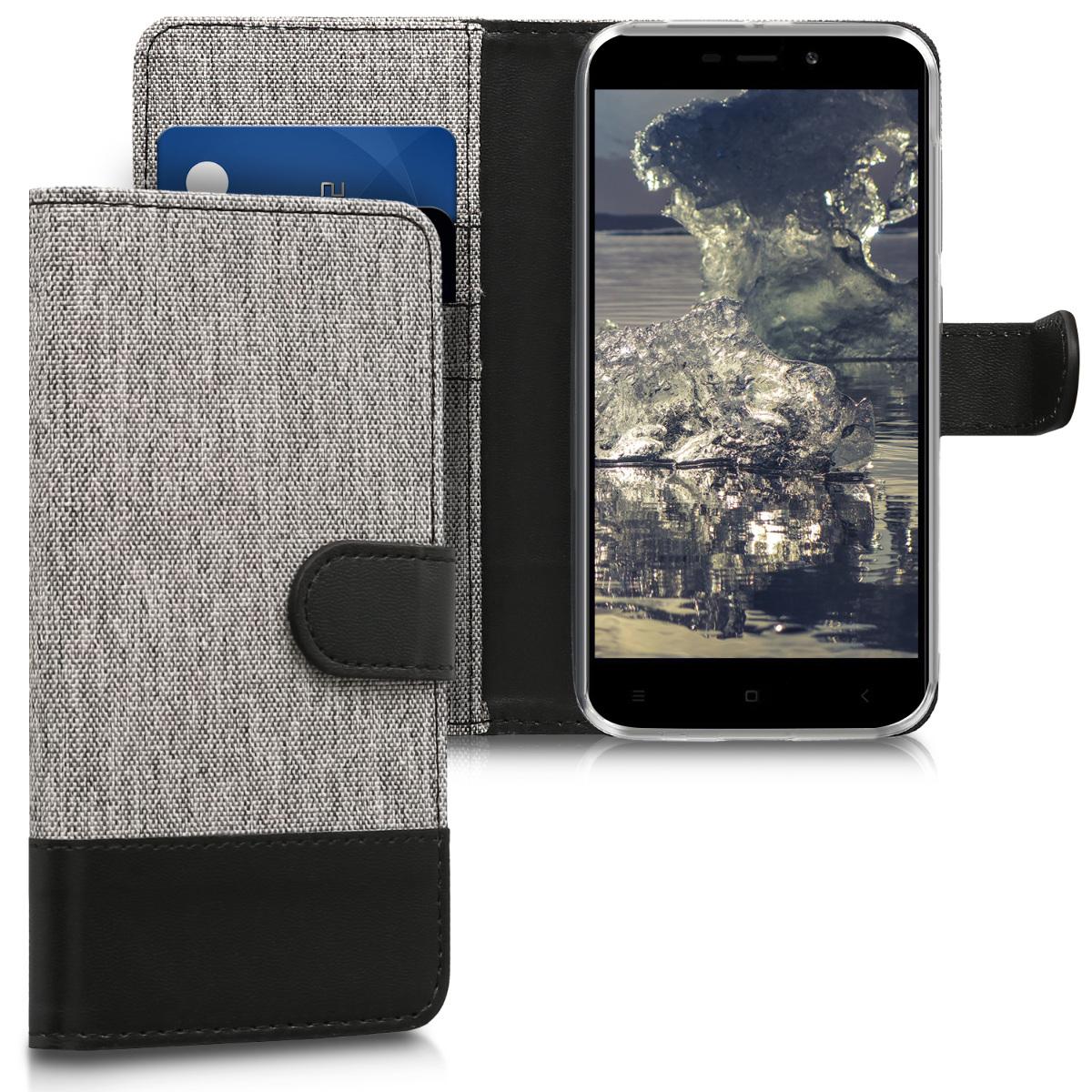 KW Θήκη Πορτοφόλι Xiaomi Redmi 4A - Συνθετικό δέρμα - Grey / Black (43846.22)