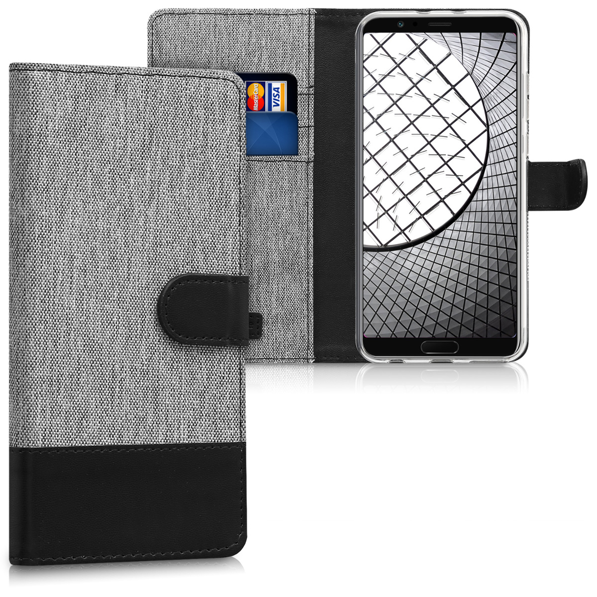 KW Θήκη Πορτοφόλι Huawei Honor View 10 / Honor V10 - Συνθετικό δέρμα - Grey / Black (43870.01)
