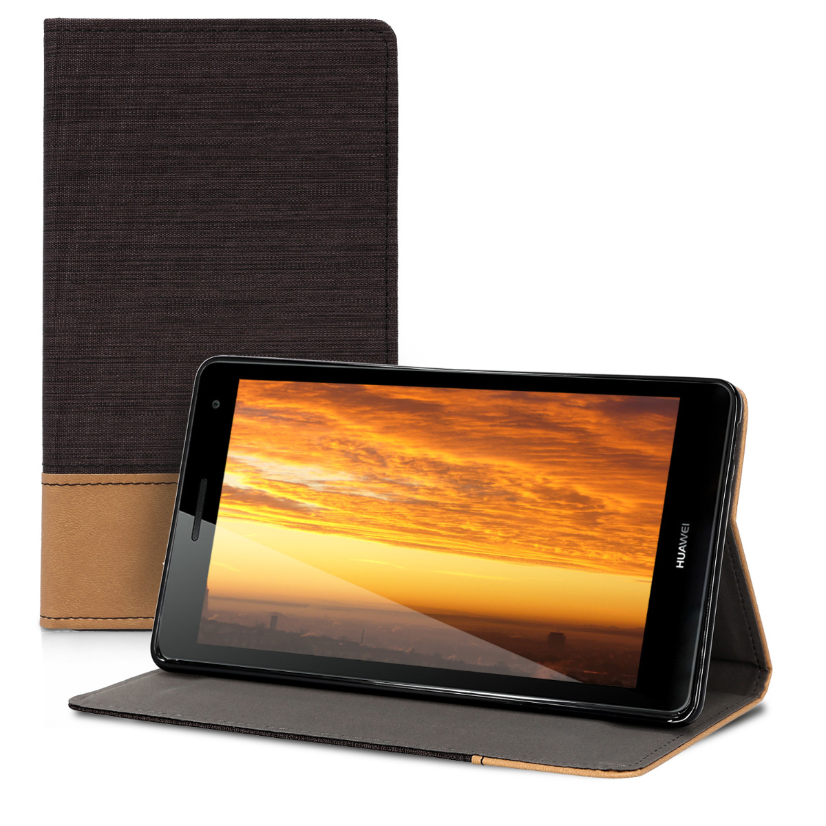 KW Θήκη Πορτοφόλι Huawei MediaPad T3 7.0 3G - Συνθετικό Δέρμα - Black / Brown (43884.01)