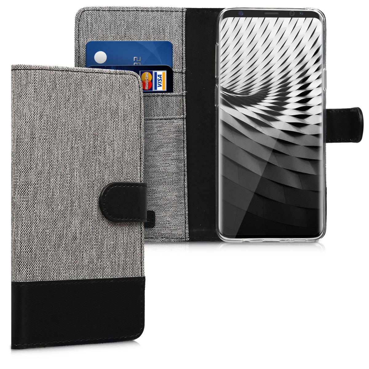 KW Θήκη - Πορτοφόλι Samsung Galaxy S9 Plus - Συνθετικό Δέρμα - Grey / Black (44095.22)