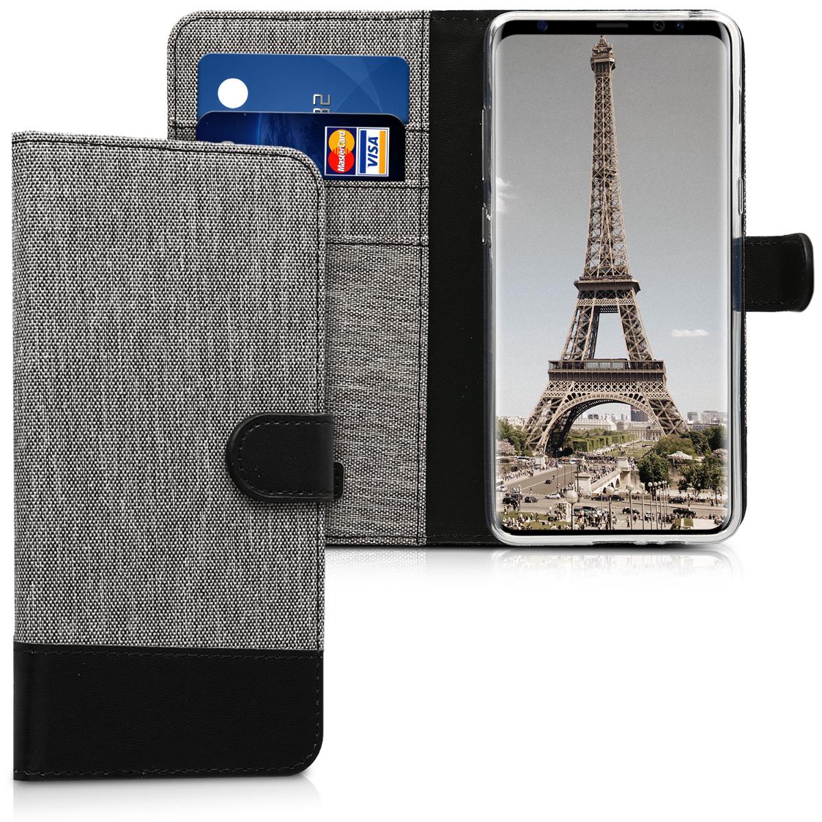 KW Θήκη-Πορτοφόλι Samsung Galaxy A8 Plus (2018) - Γκρι/ Μαύρο (44101.22)