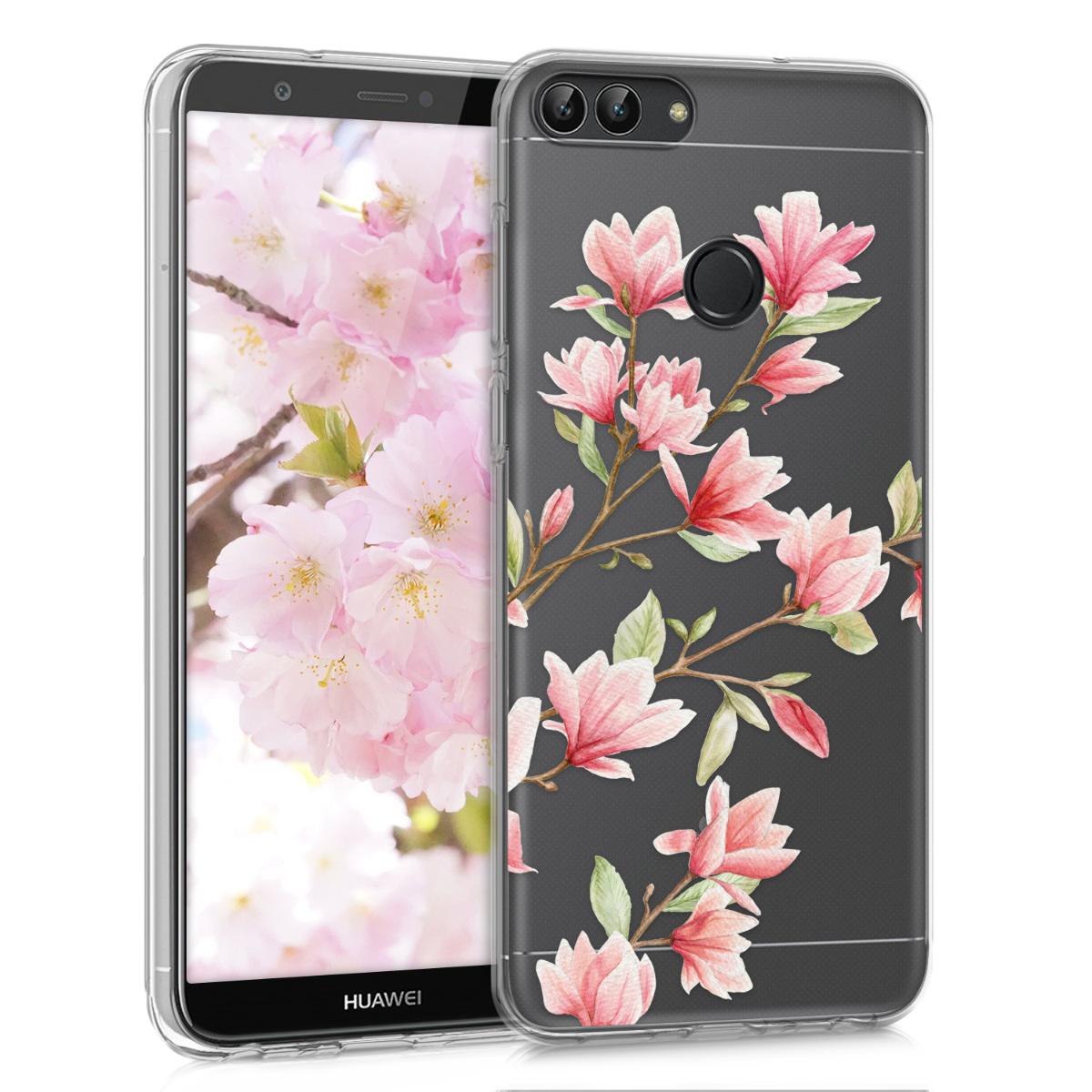 KW Θήκη Σιλικόνης Huawei P Smart 2018 - Magnolias Pink / White (44125.12)