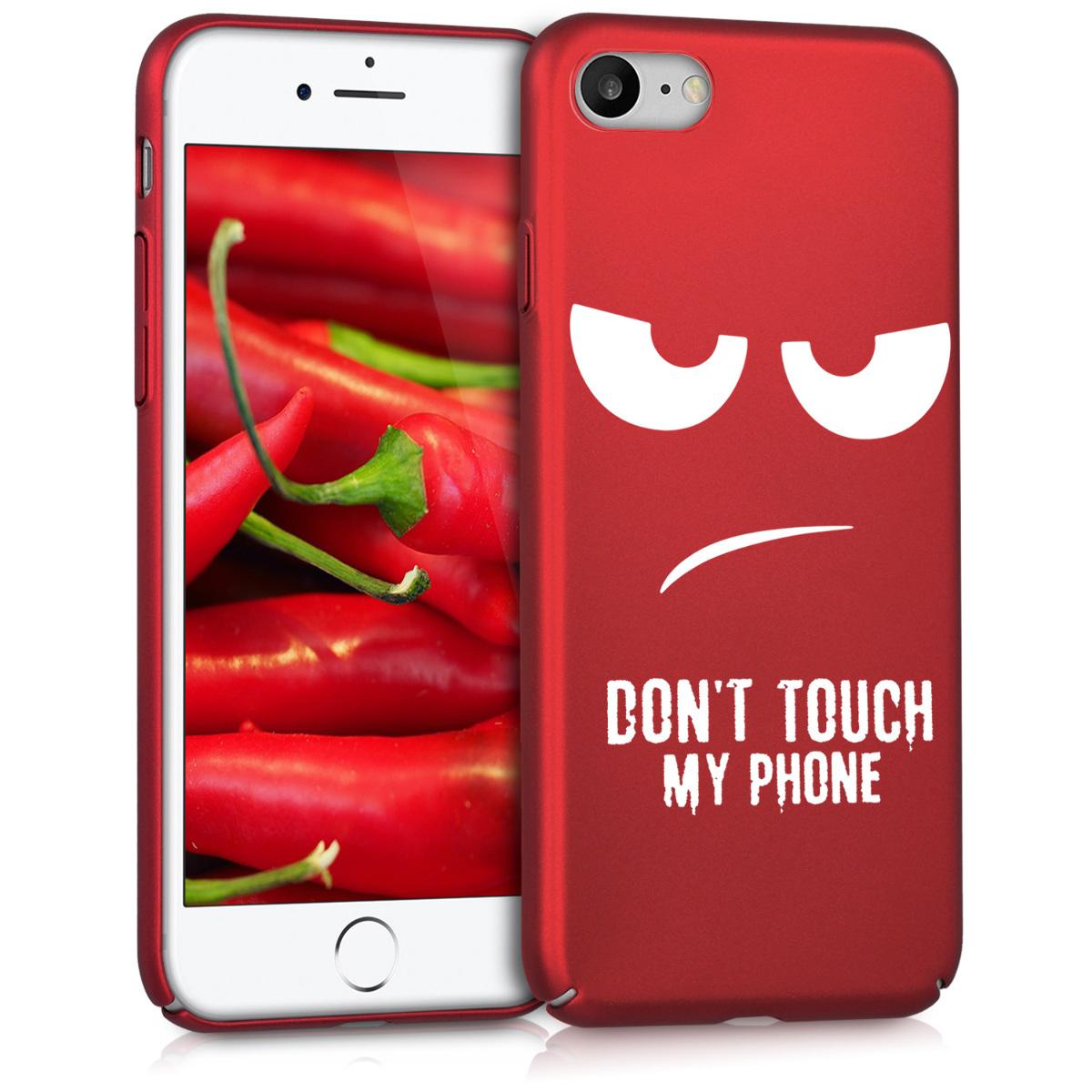 KW Slim Anti-Slip Cover - Σκληρή Θήκη Καουτσούκ iPhone 7 / 8 - Κόκκινο - Don't touch my phone (44139.01)