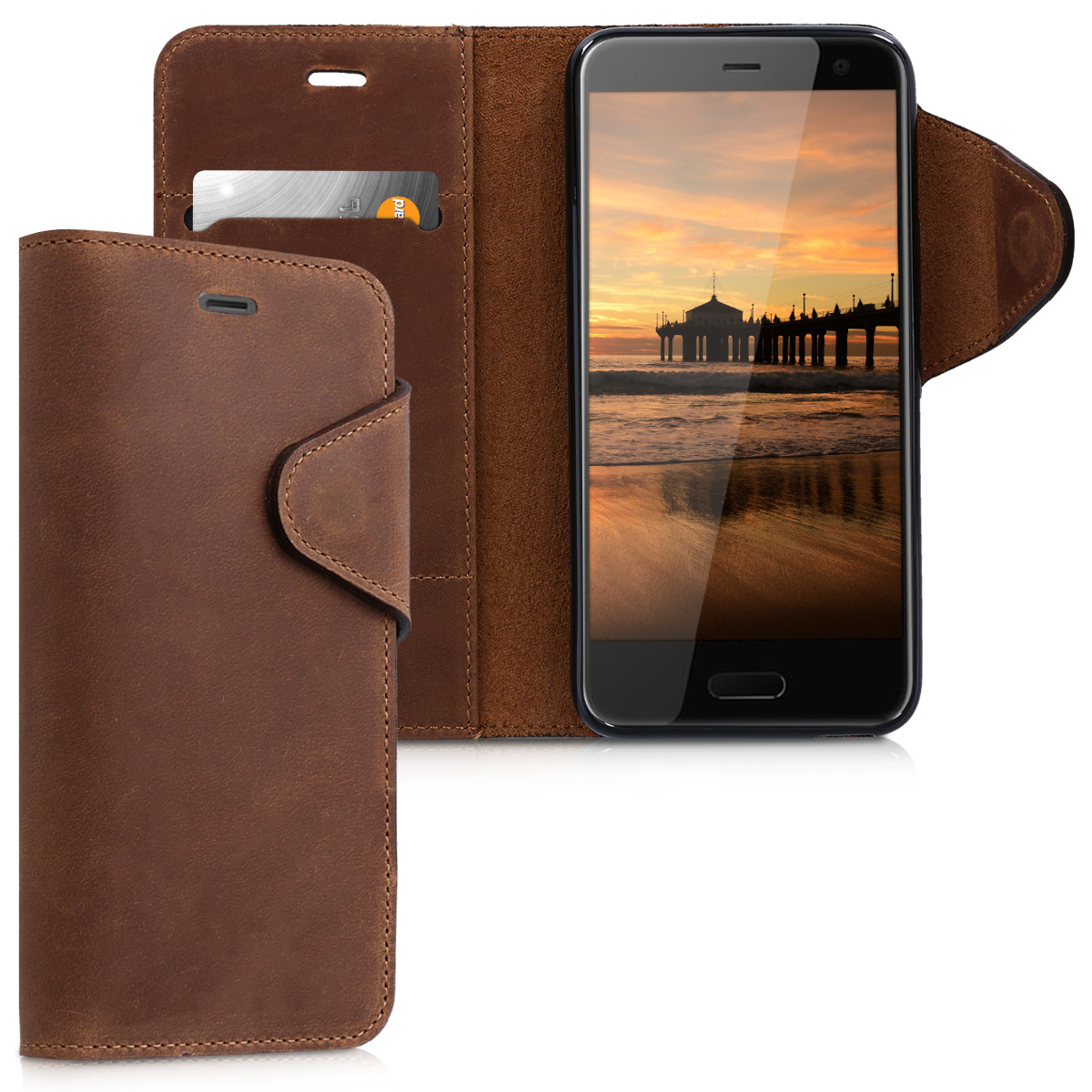 Kalibri Δερμάτινη Suede Θήκη - Πορτοφόλι HTC U11 Life - Καφέ (44191.05)
