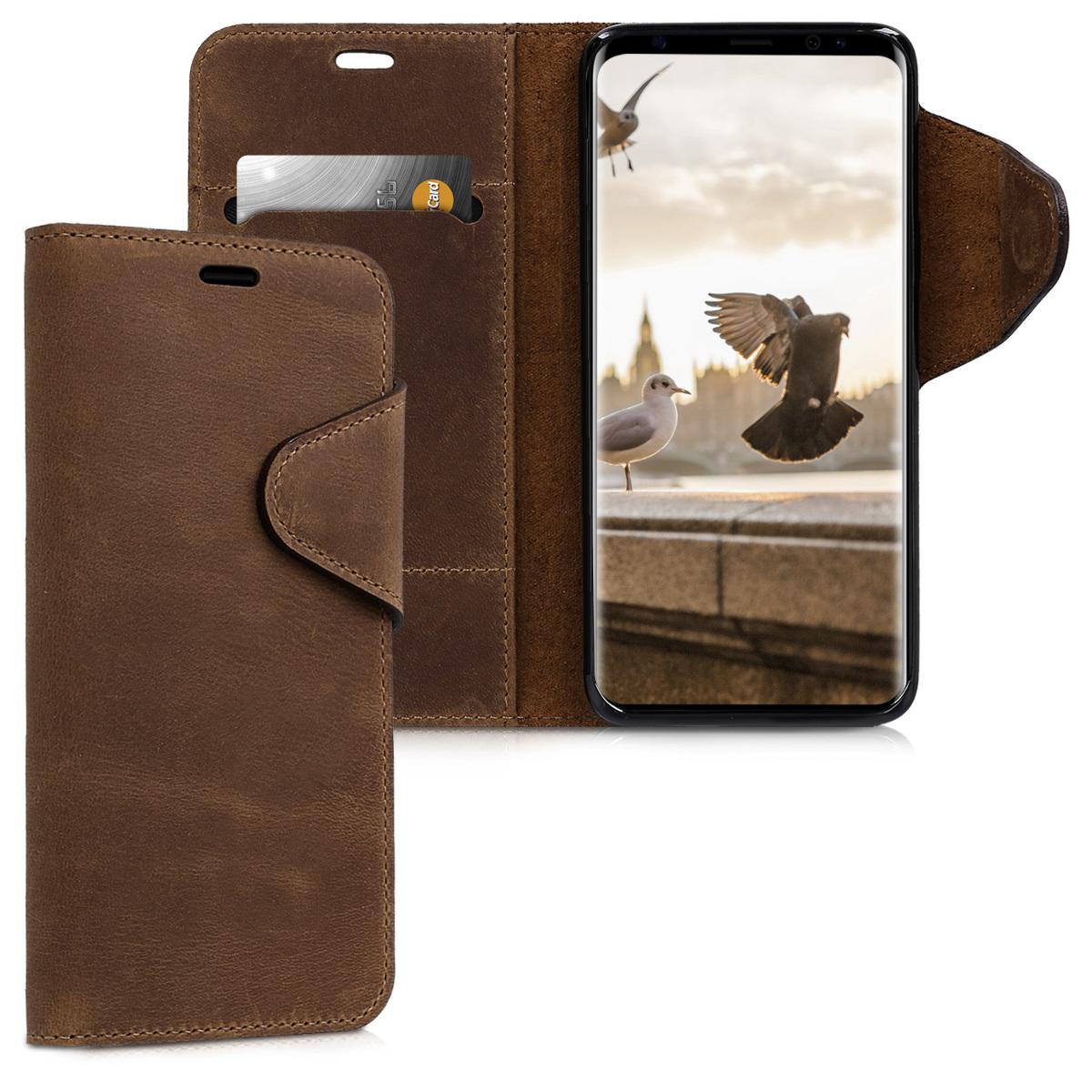 Kalibri Δερμάτινη Suede Θήκη - Πορτοφόλι  Samsung Galaxy S9 - Brown (44192.05)