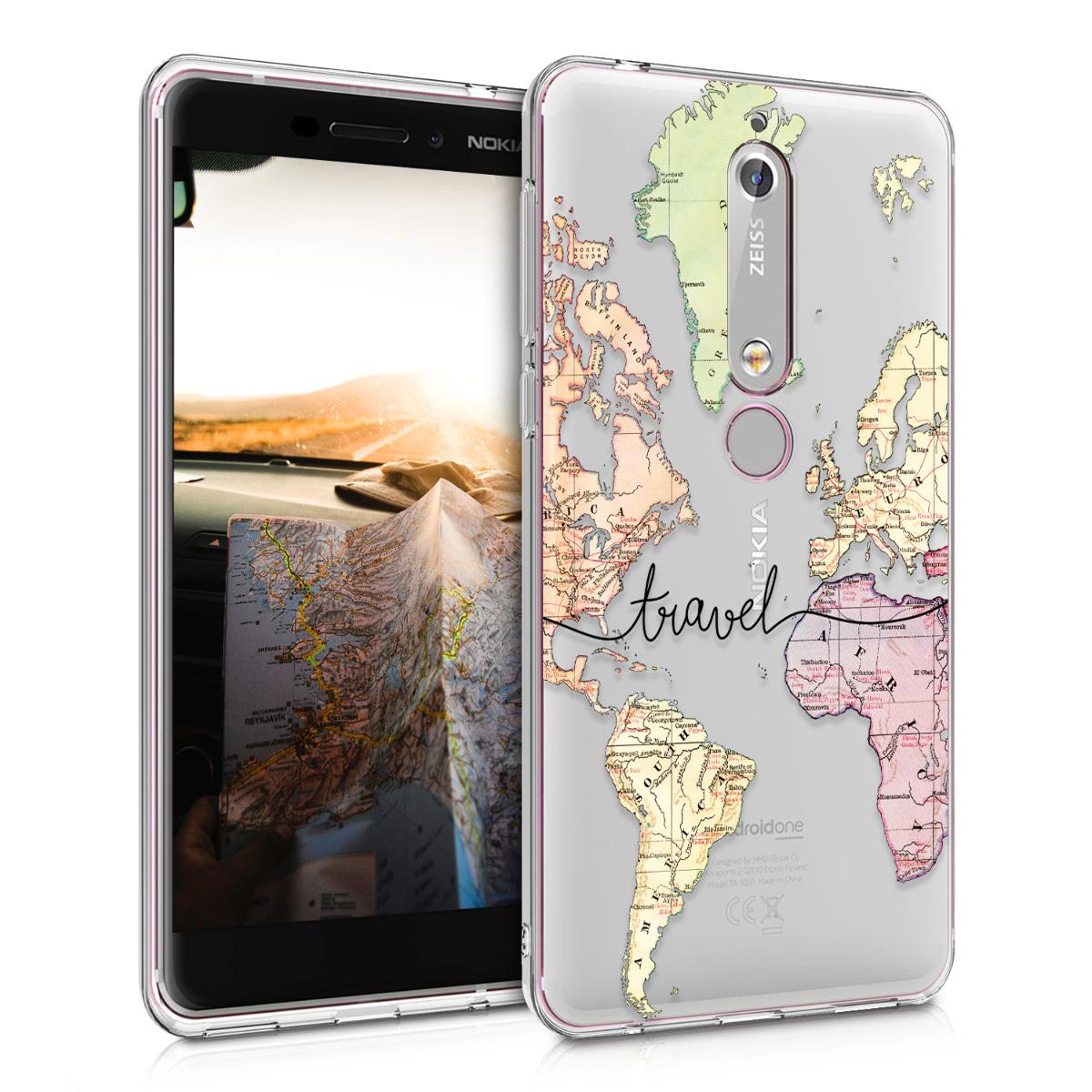 KW Θήκη Σιλικόνης Nokia 6.1 - Crystal Clear - Black / Multicolor / Transparent (44200.12)