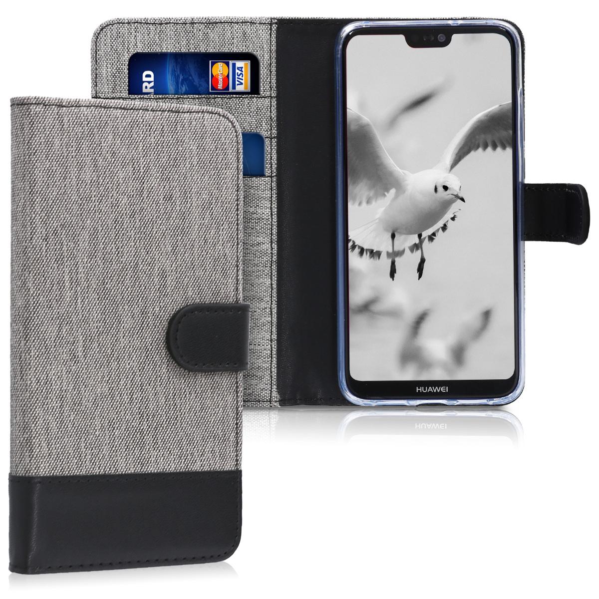 KW Θήκη Πορτοφόλι Huawei P20 - Grey / Black (44213.01)