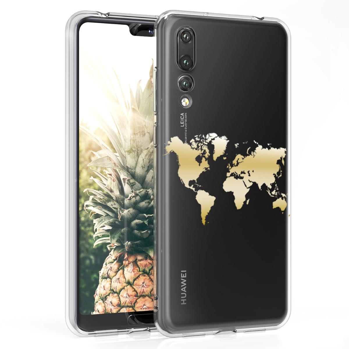 KW Θήκη Σιλικόνης Huawei P20 Pro - Gold / Transparent (44226.02)