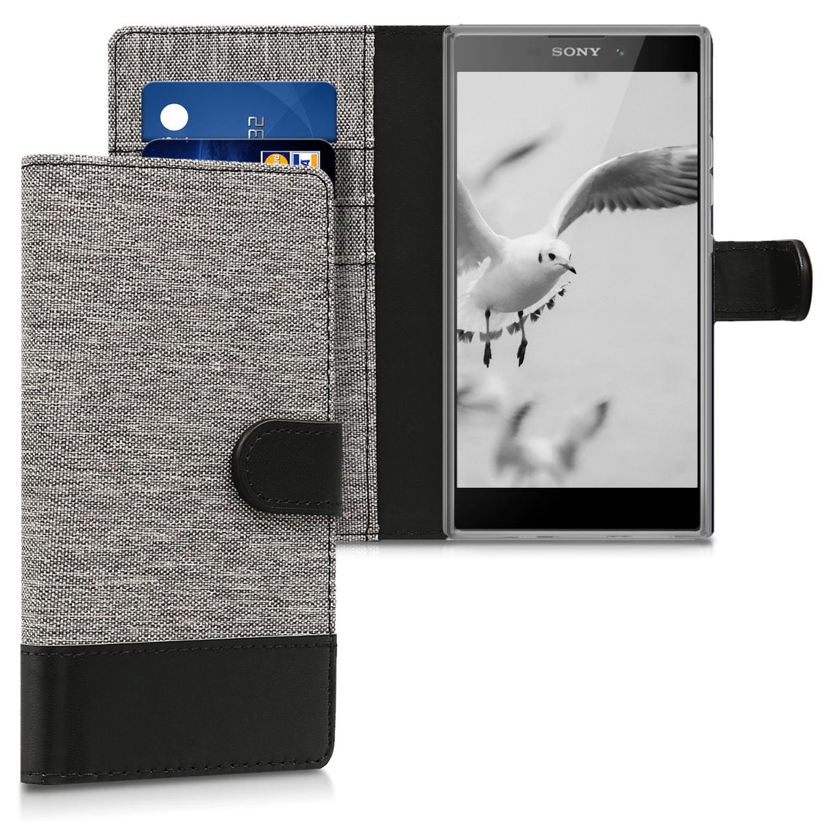 KW Θήκη Πορτοφόλι Sony Xperia L2 - Συνθετικό δέρμα - Grey / Black (44288.22)