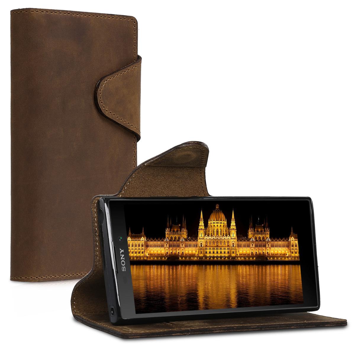 Kalibri Δερμάτινη Suede Θήκη - Πορτοφόλι Sony Xperia XA2 - Brown (44292.05)