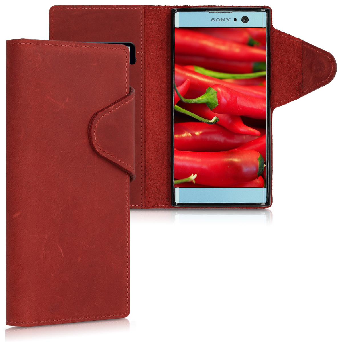 Kalibri Δερμάτινη Suede Θήκη - Πορτοφόλι  Sony Xperia XA2 -  Dark Red (44292.20)