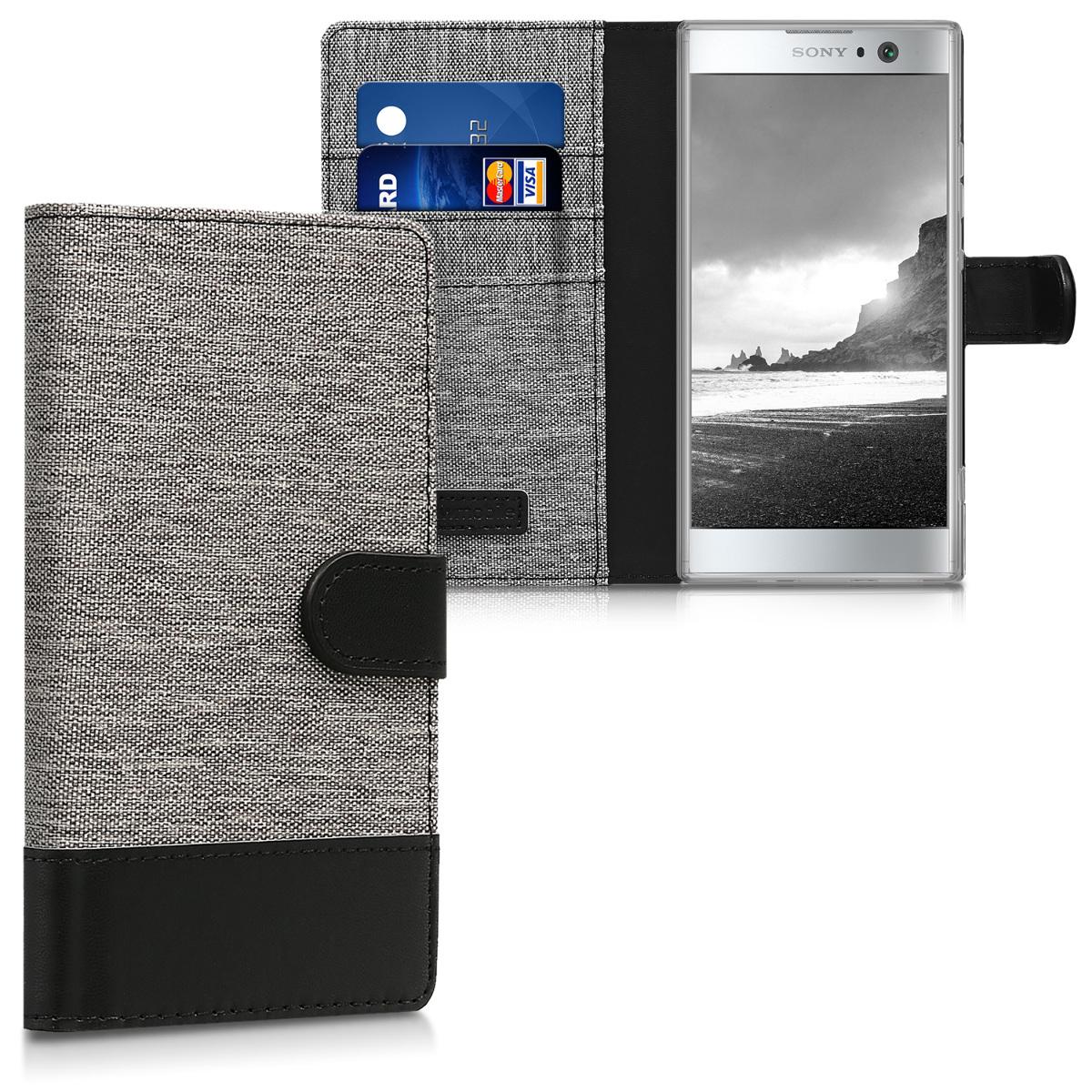 KW Θήκη Πορτοφόλι Sony Xperia XA2 - Συνθετικό δέρμα - Grey / Black (44295.22)