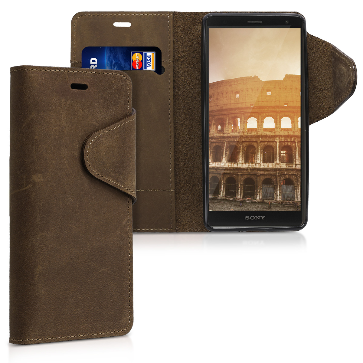 Kalibri Δερμάτινη Suede Θήκη - Πορτοφόλι Sony Xperia XZ2 -  Brown (44306.05)