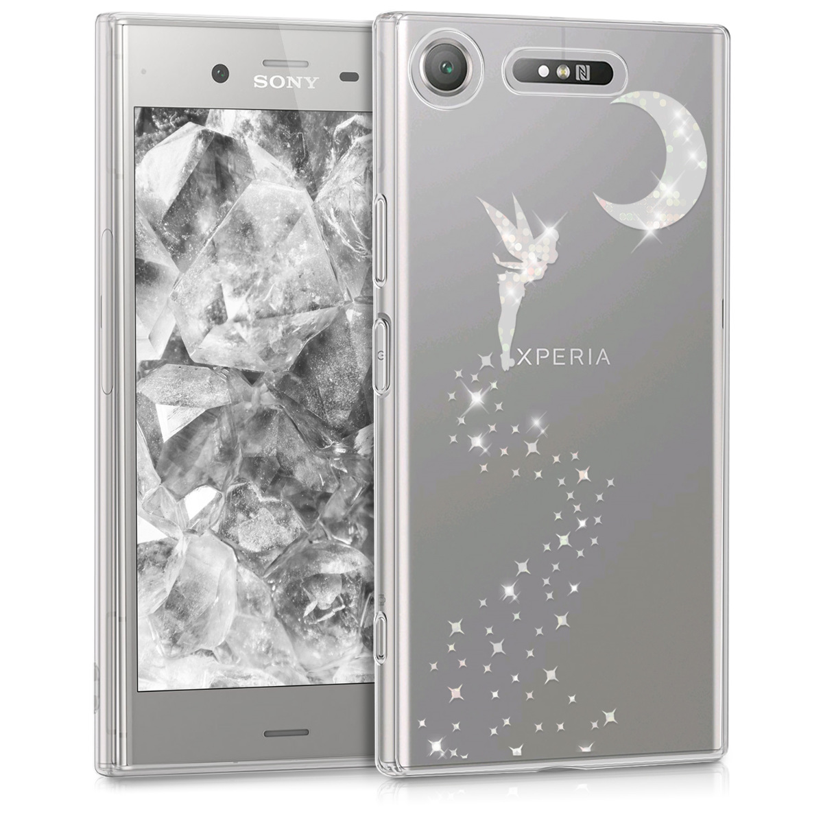 KW Θήκη Σιλικόνης Sony Xperia XZ1 - Silver Fairy / Transparent (44325.03)