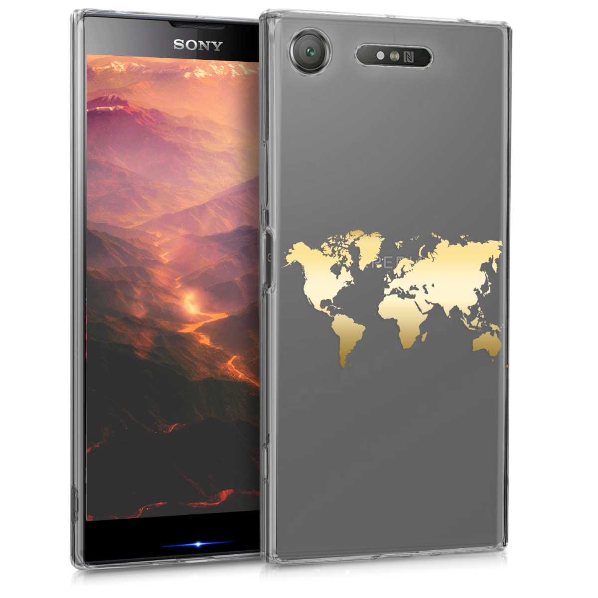 KW Θήκη Σιλικόνης Sony Xperia XZ1 - Gold / Transparent (44325.09)