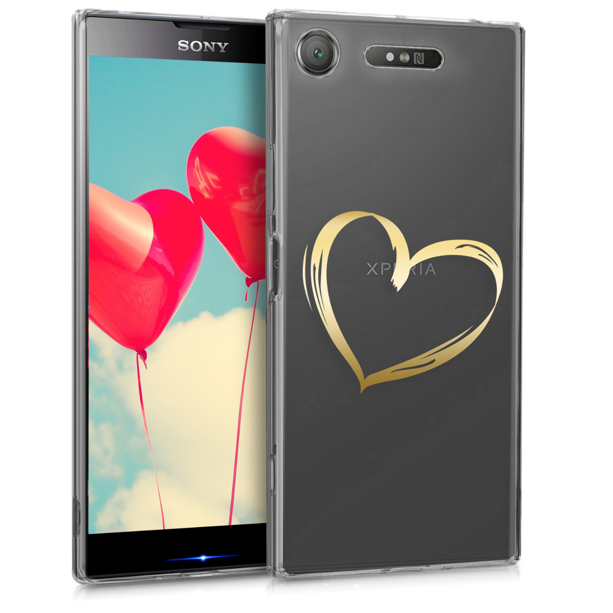 KW Θήκη Σιλικόνης Sony Xperia XZ1 - Golden Heart / Transparent (44325.11)