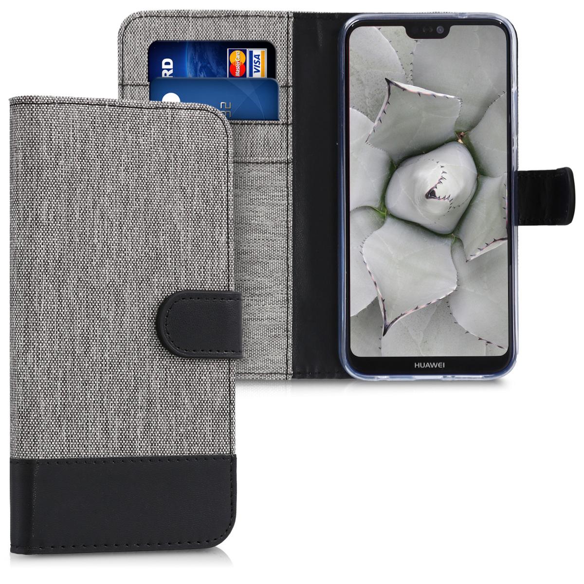 KW Θήκη Πορτοφόλι Huawei P20 Lite - Συνθετικό δέρμα - Grey / Black (44363.01)