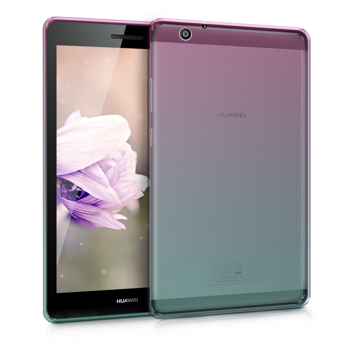 KW Θήκη Σιλικόνης Huawei MediaPad T3 7.0 3G - Soft Flexible Shock Absorbent Protective Cover - Dark Pink / Blue / Transparent (44408.01)