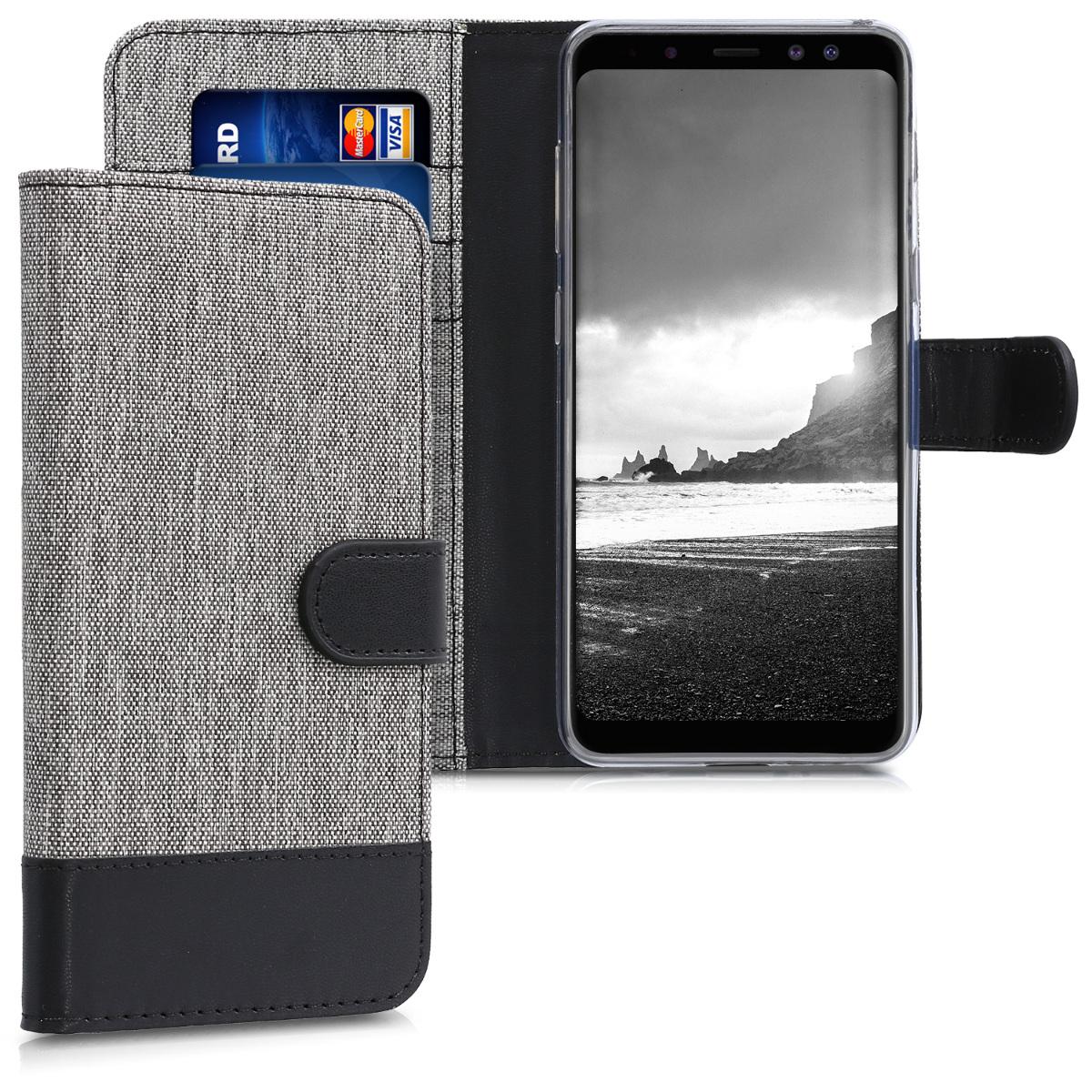 KW Θήκη-Πορτοφόλι Samsung Galaxy A8 (2018) - Γκρι/ Μαύρο  (44455.22)