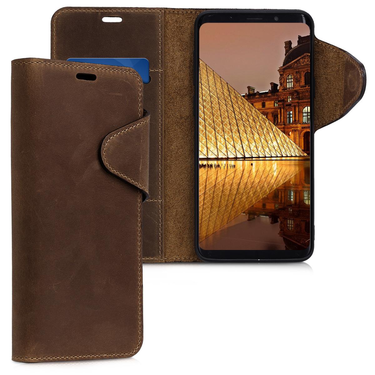 Kalibri Δερμάτινη Suede Θήκη - Πορτοφόλι Samsung Galaxy S9 Plus - Brown (44486.05)