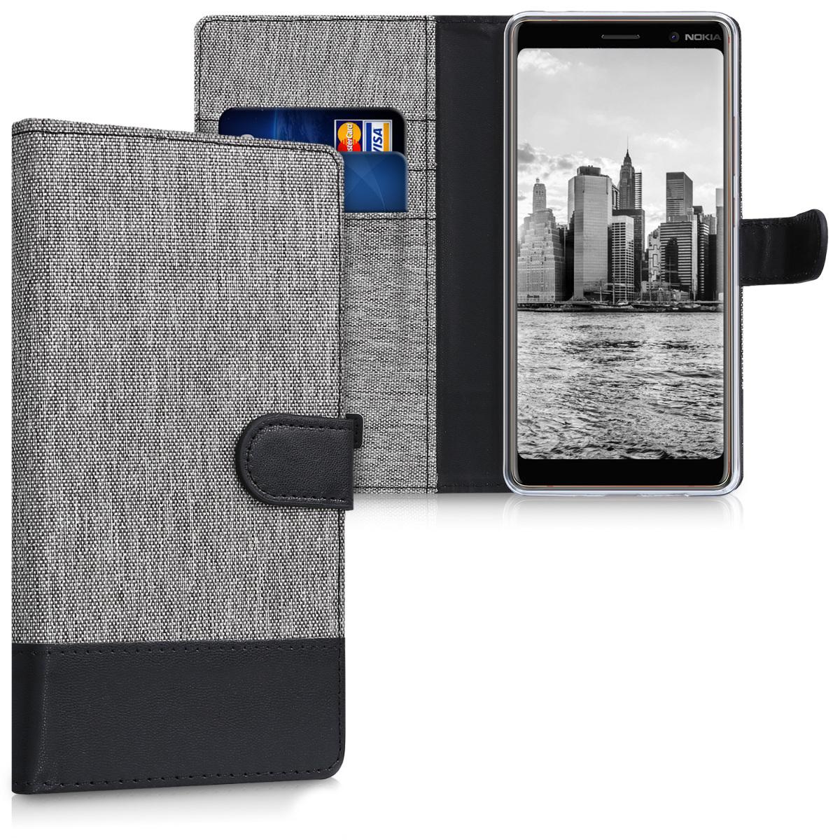 KW Θήκη - Πορτοφόλι Nokia 7 Plus - Grey / Black Canvas (44498.01)