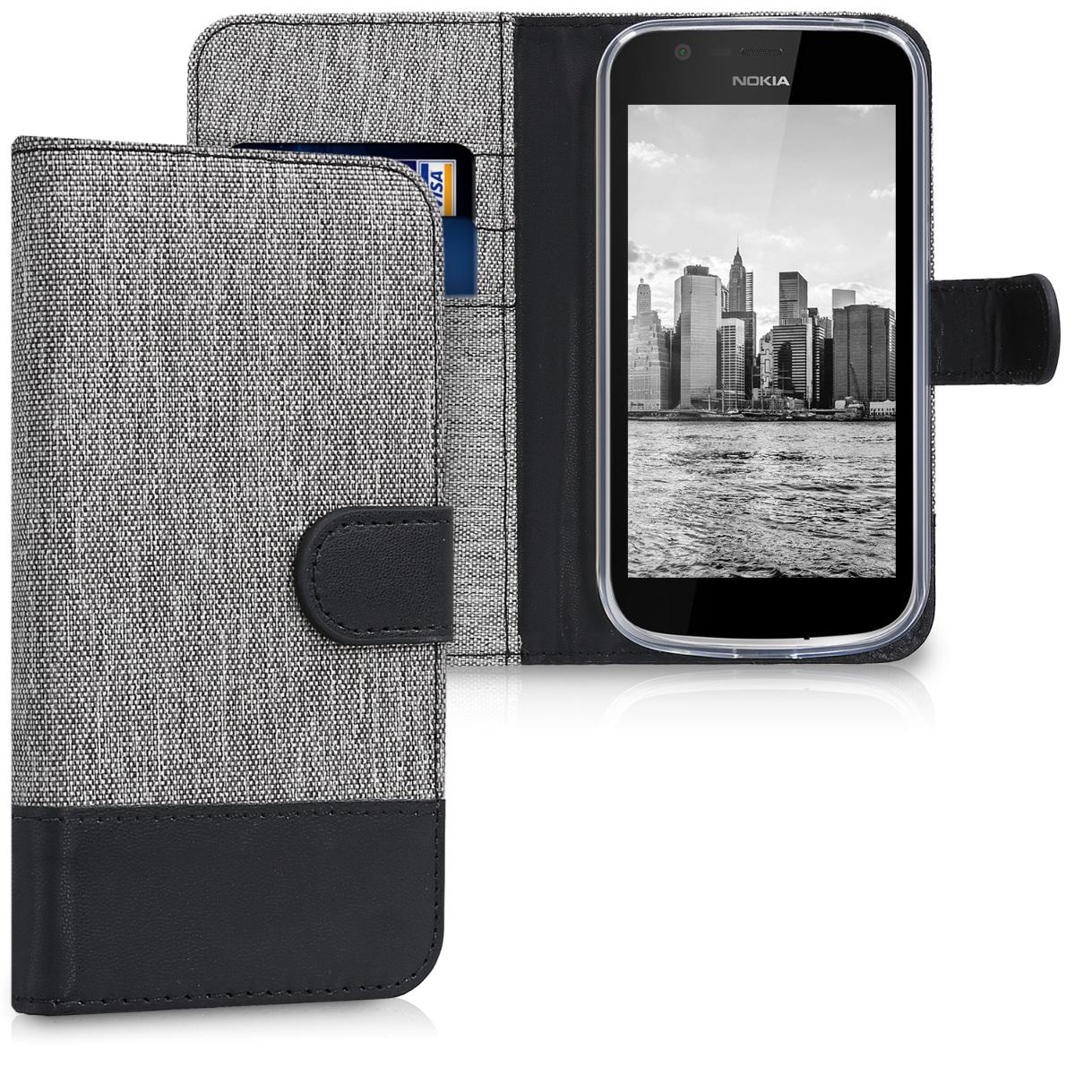 KW Θήκη Πορτοφόλι Nokia 1 - Grey / Black (44503.01)