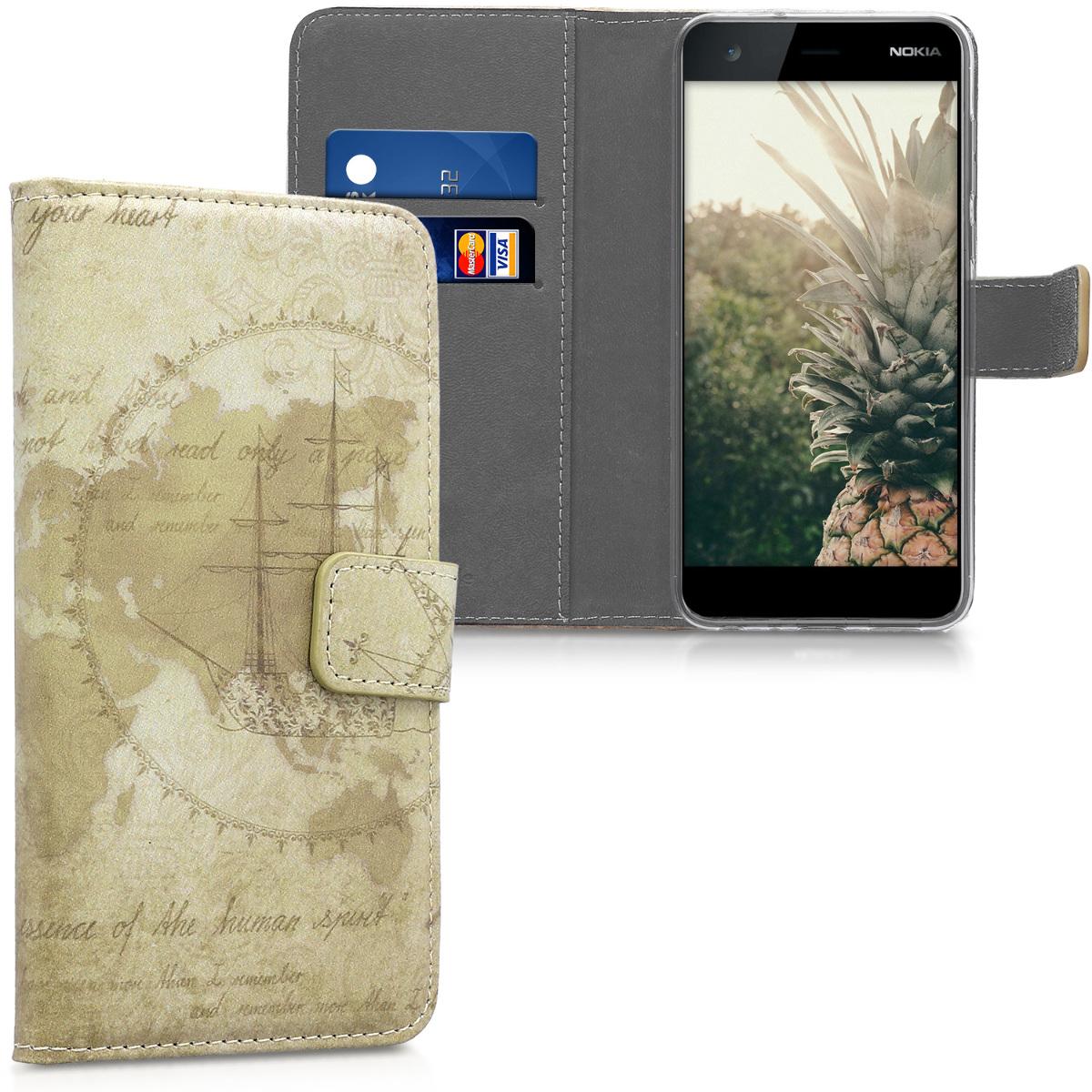 KW Θήκη Πορτοφόλι Nokia 2 - Συνθετικό Δέρμα - Brown / Light Brown (44513.02)