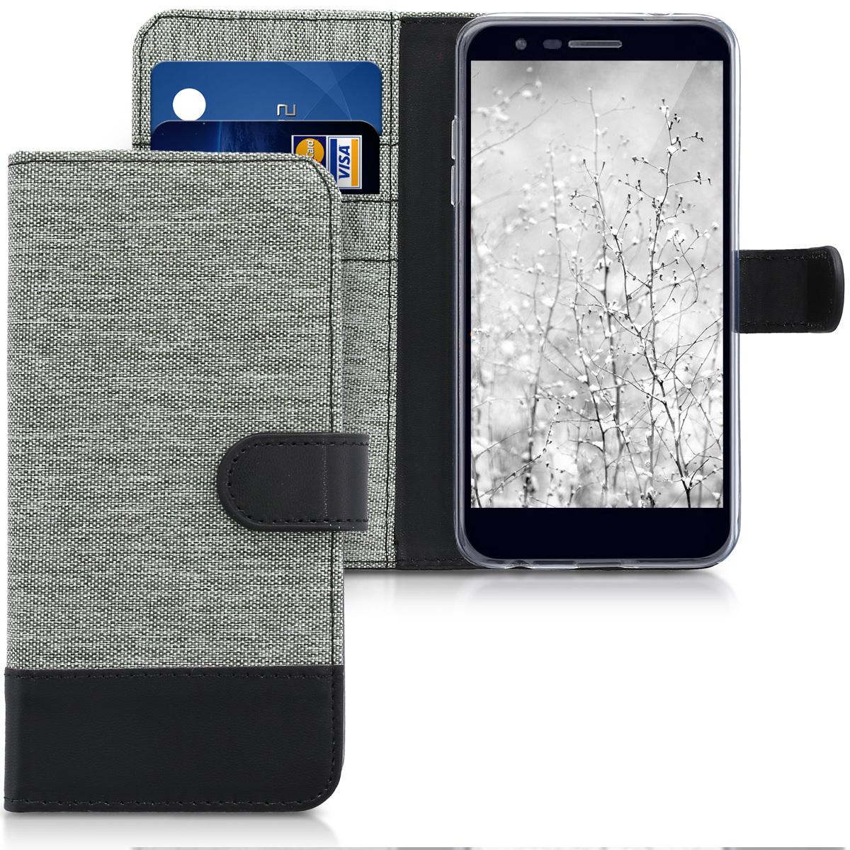 KW Canvas Θήκη Πορτοφόλι LG K11 / K11+ / K10 (2018) - Grey / Black (44554.22)