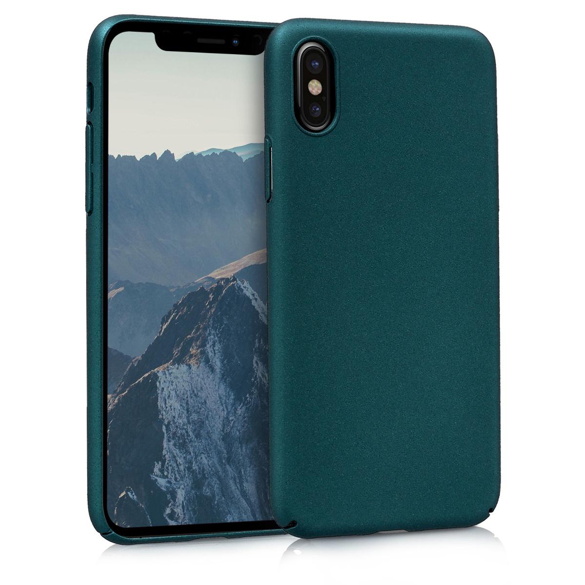 KW Slim Anti-Slip Cover - Σκληρή Θήκη Καουτσούκ iPhone X / Xs - Τυρκουάζ μεταλλικό (44596.14)
