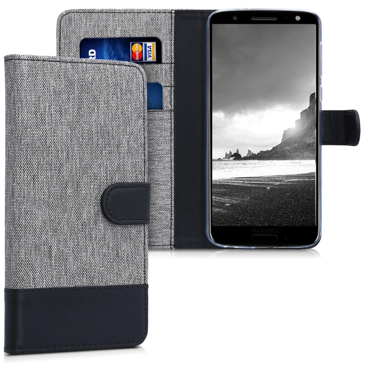 KW Θήκη Πορτοφόλι Motorola Moto G6 - Grey / Black Canvas (44603.01)