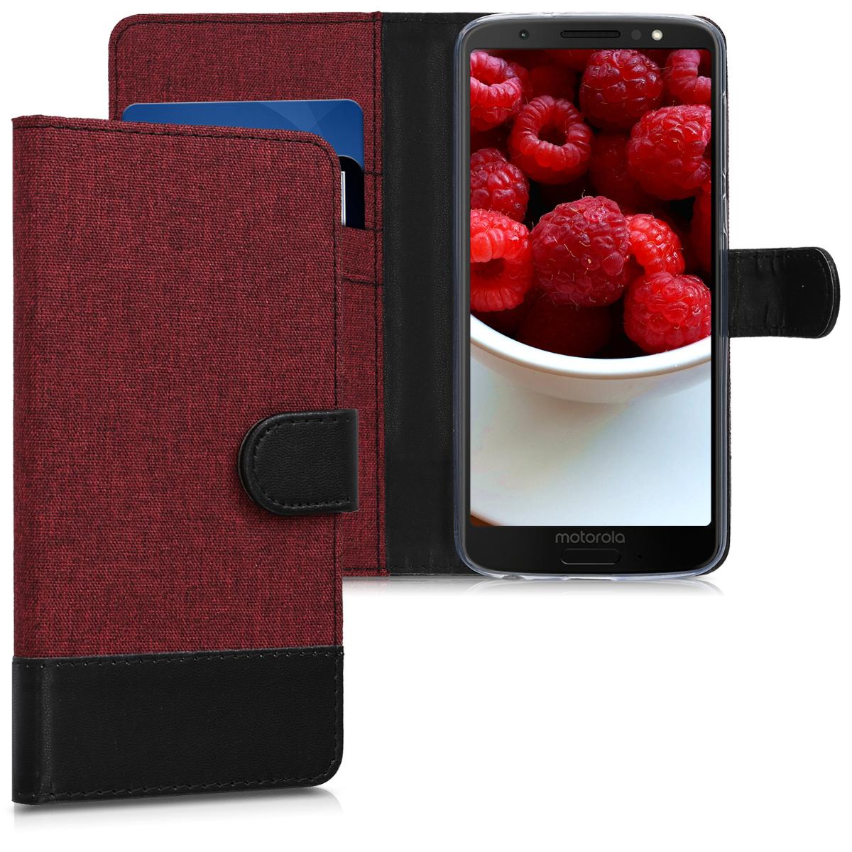 KW Θήκη Πορτοφόλι Motorola Moto G6 - Dark Red / Black Canvas (44603.03)