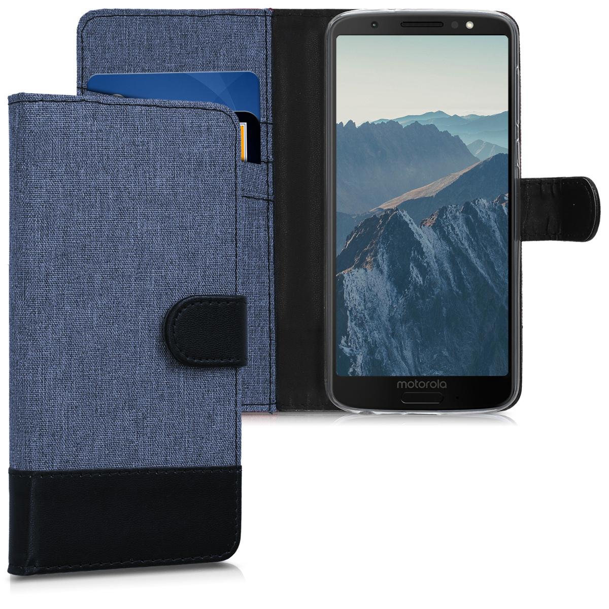 KW Θήκη Πορτοφόλι Motorola Moto G6 - Dark Blue / Black Canvas (44603.05)