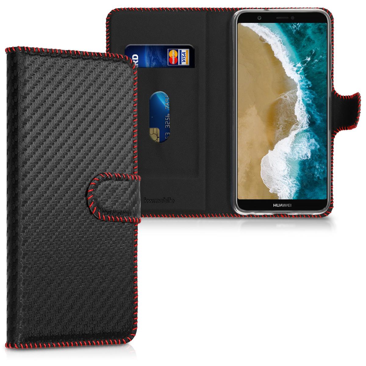 KW Θήκη - Πορτοφόλι Huawei P Smart 2018 - Carbon Black / Red (44693.04)