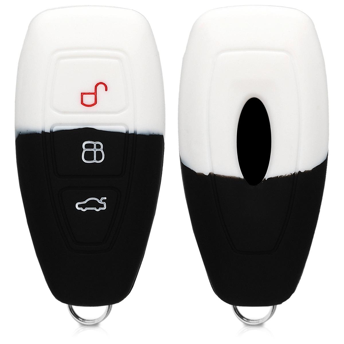 KW Θήκη κλειδιού -Ford - Σιλικόνη- 3 κουμπιά - Άσπρο/Μαύρο (44708.11)