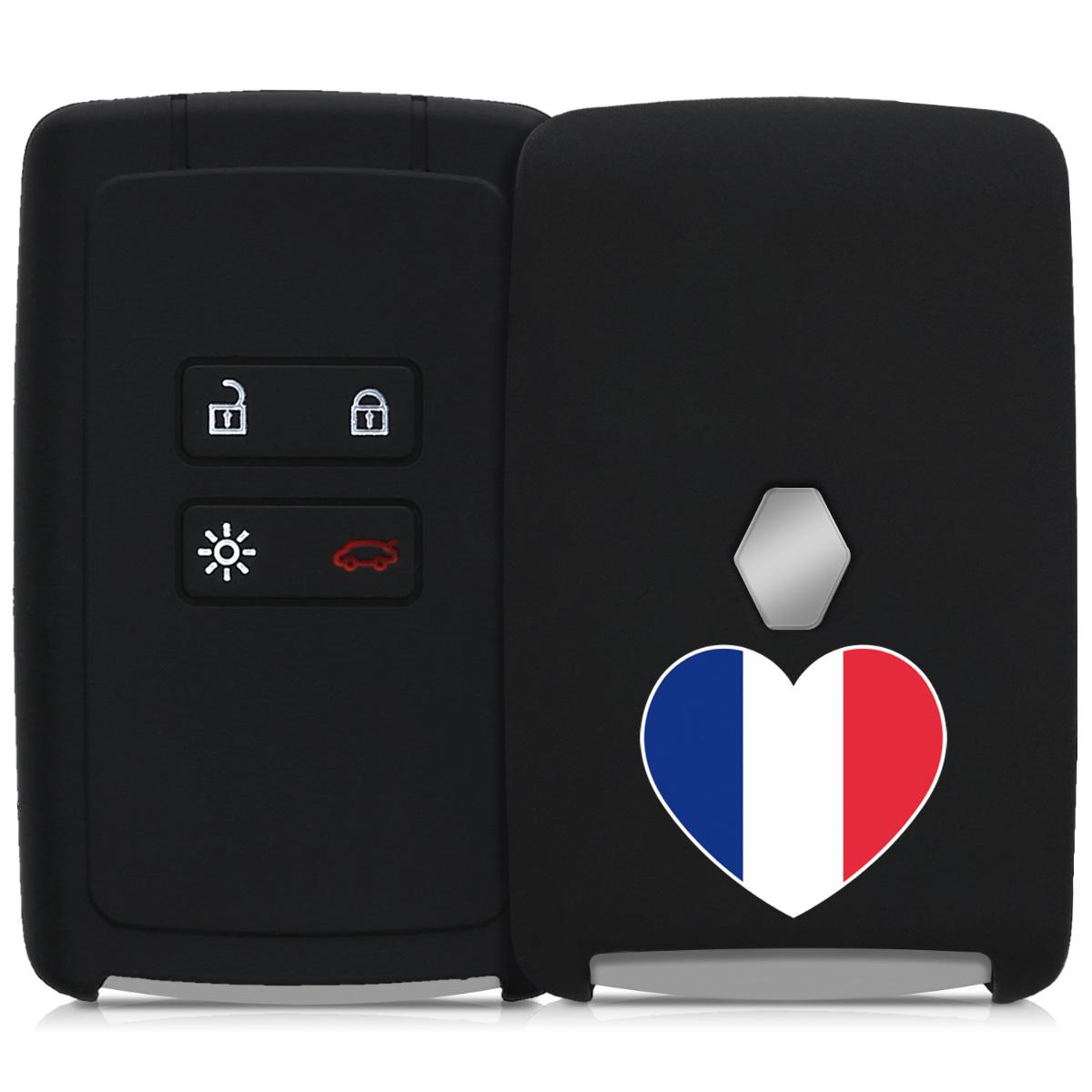 KW Silicone Θήκη Κλειδιού Renault - 4 Κουμπιά - Keyless Go - Blue / Red / Black (44709.26)