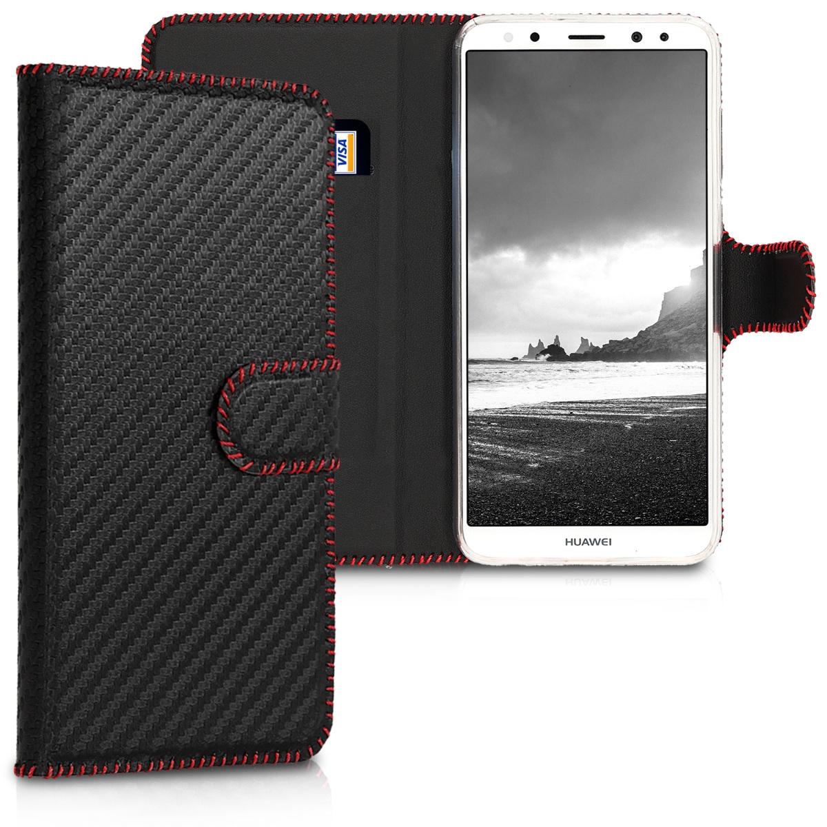 KW Θήκη - Πορτοφόλι Huawei Mate 10 Lite - Black / Red Carbon (44719.02)