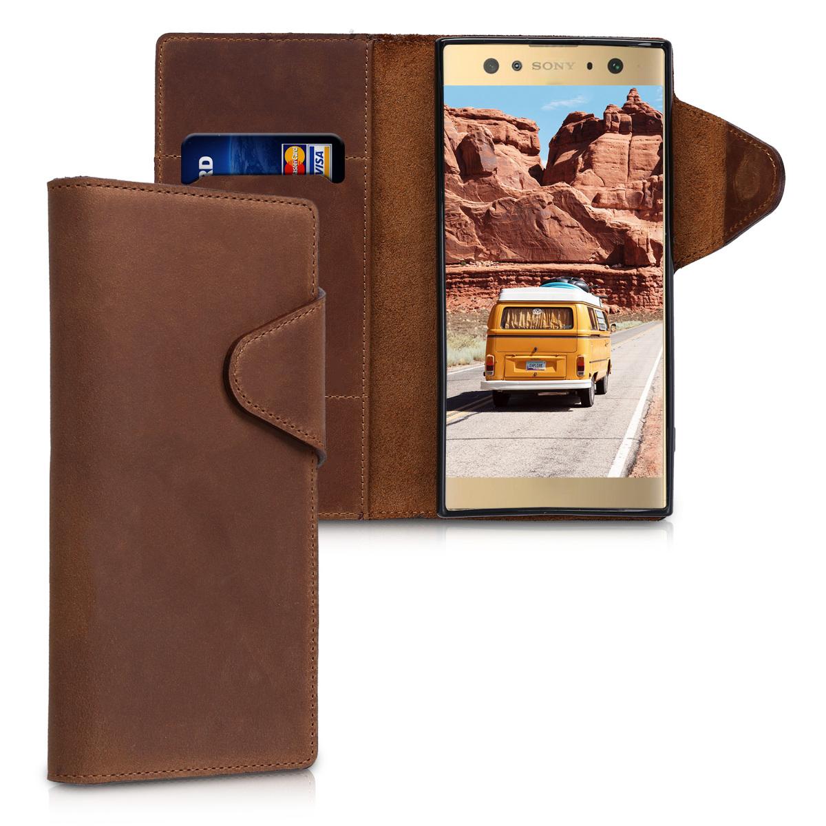 Kalibri Δερμάτινη Suede Θήκη - Πορτοφόλι Sony Xperia XA2 Ultra - Brown (44758.05)