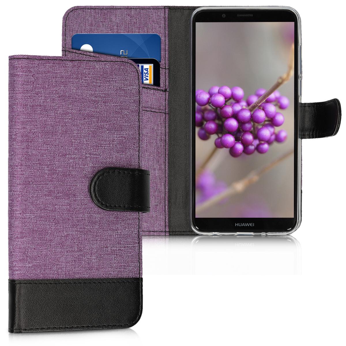 KW Θήκη - Πορτοφόλι Huawei Y7 / Y7 Prime 2018 - Violet / Black (44822.05)