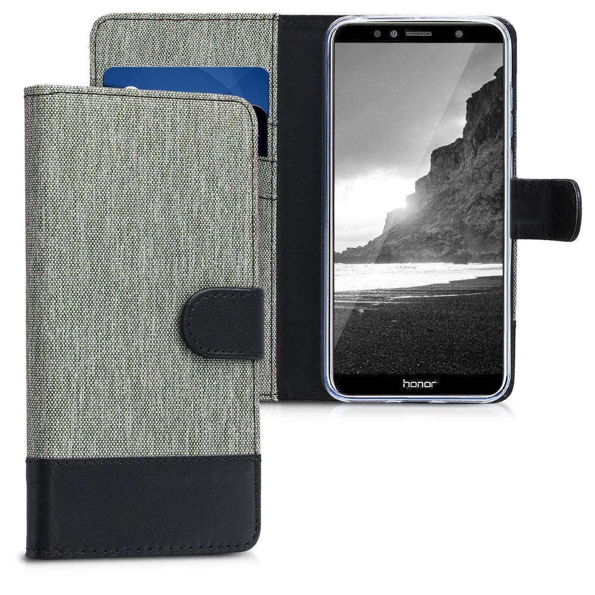 KW Θήκη-Πορτοφόλι Huawei Honor 7A - Γκρι/Μαύρο (44827.01)