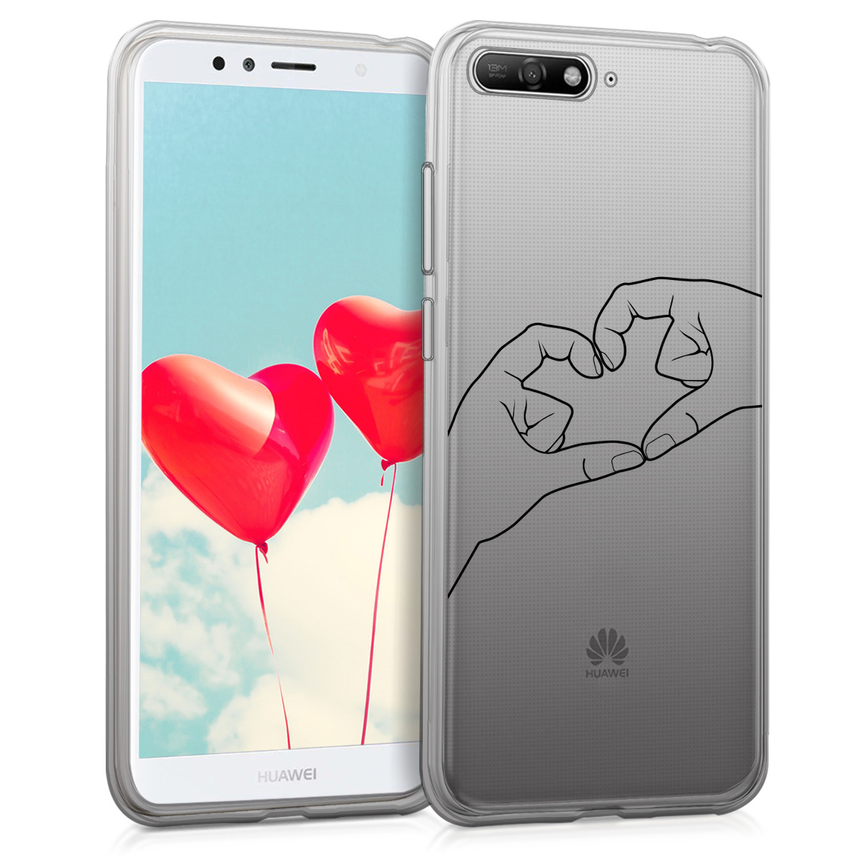 KW Θήκη Σιλικόνης TPU Huawei Y6 (2018) - Crystal Clear  - Black / Transparent (44877.18)
