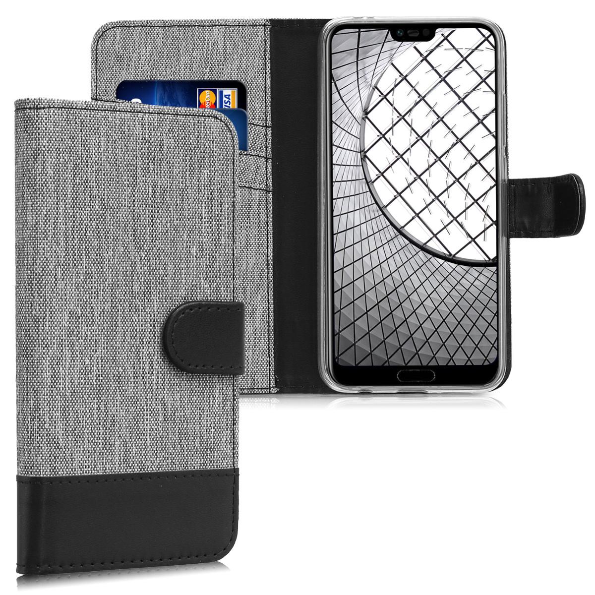 KW Θήκη Πορτοφόλι Huawei Honor 10 - Grey / Black (44884.01)