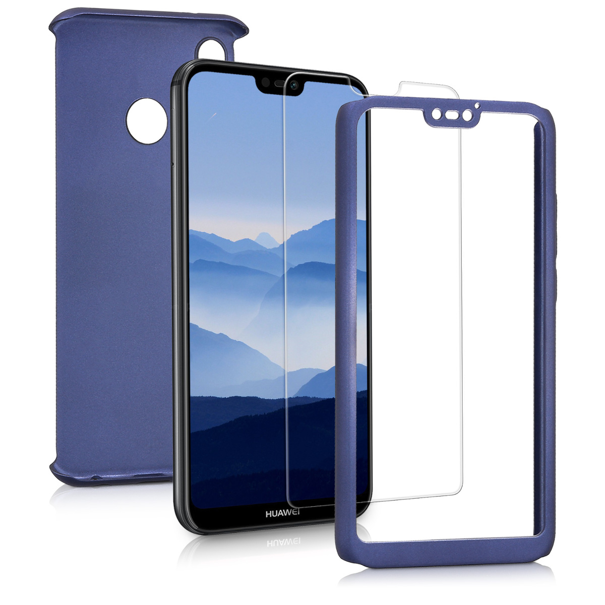 KW Θήκη Full Body για Huawei P20 Lite & Tempered Glass - Metallic Blue (44888.64)