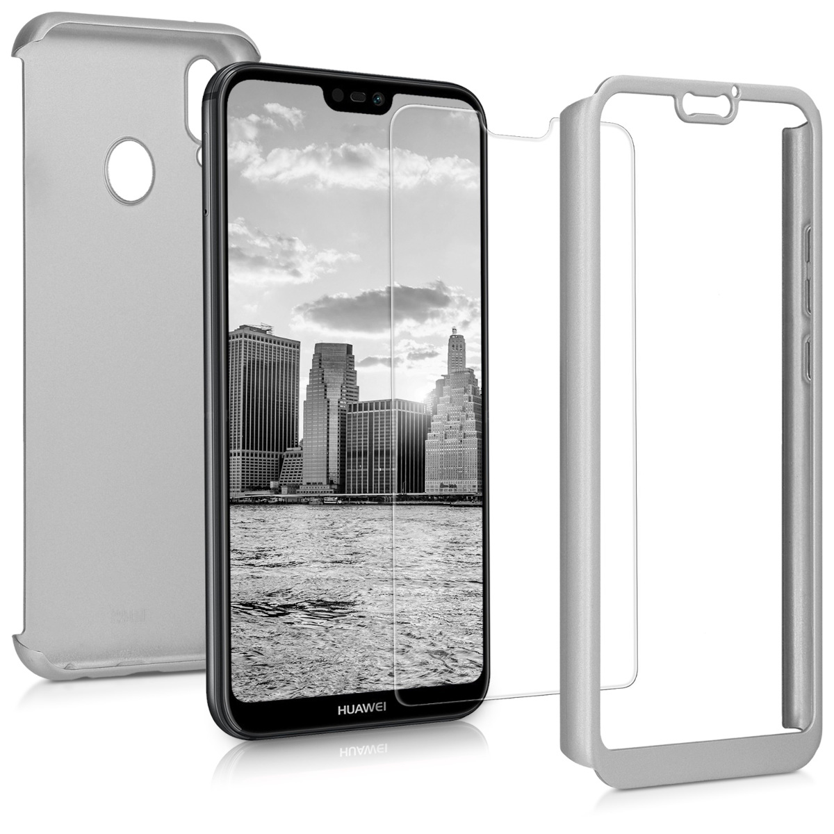 KW Θήκη Full Body Huawei P20 Lite & Tempered Glass - Metallic Silver (44888.67)
