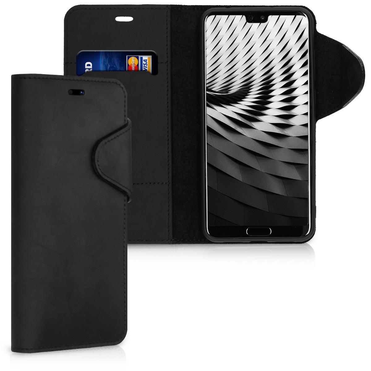 Kalibri Δερμάτινη Suede Θήκη - Πορτοφόλι Huawei P20 Pro -  Black (44897.01)
