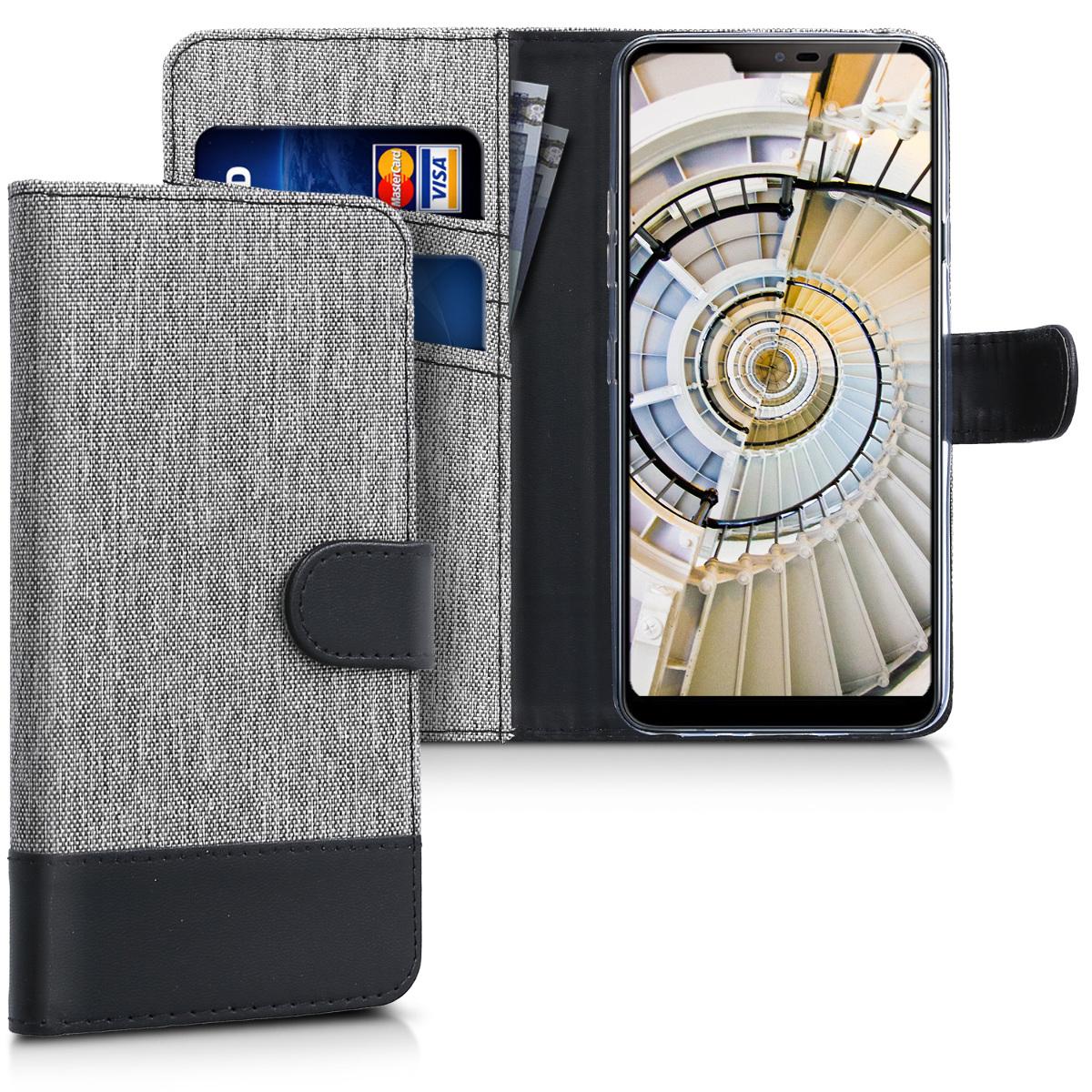 KW Θήκη-Πορτοφόλι LG G7 ThinQ - Γκρι/ Μαύρο (44921.22)