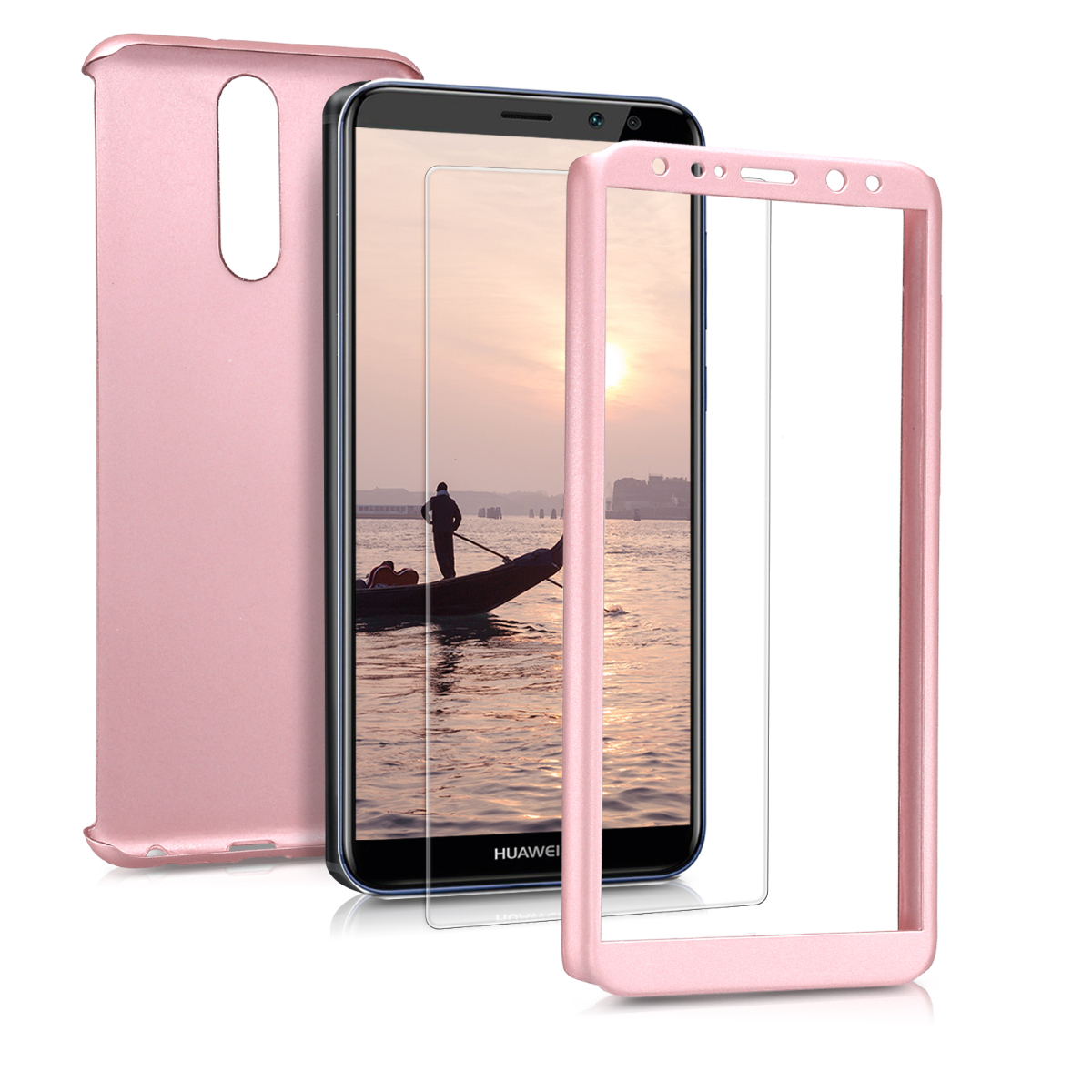KW Θήκη Full Body Huawei Mate 10 Lite & Tempered Glass - Μεταλλικό ροζ χαλκινο (44968.31)