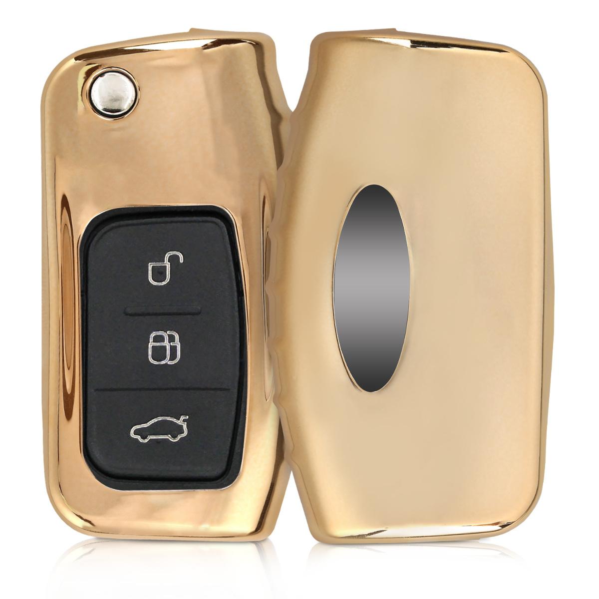 KW Θήκη κλειδιού - Ford - Σιλικόνη TPU- 3 κουμπιά - Gold High Gloss (44986.92)