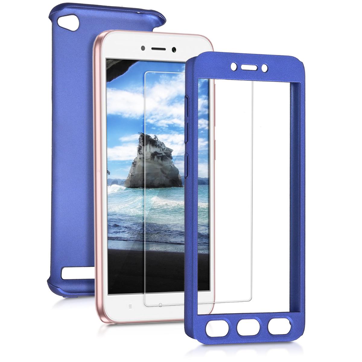 KW Θήκη Full Body Xiaomi Redmi 5A & Tempered Glass - Μπλε μεταλλικό (44997.64)