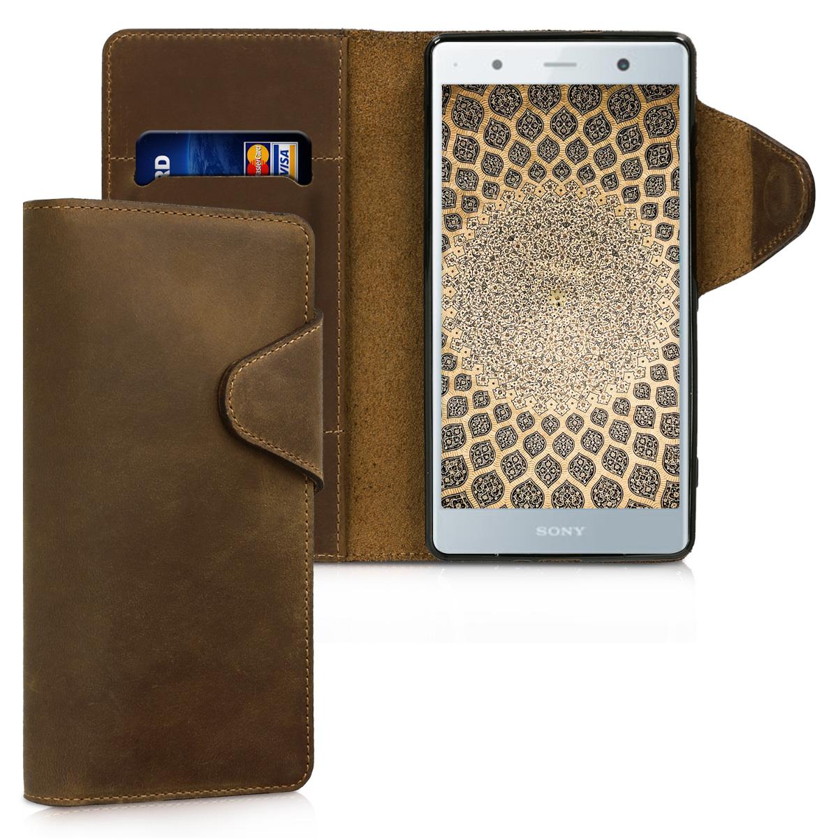 Kalibri Δερμάτινη Suede Θήκη - Πορτοφόλι Sony Xperia XZ2 Premium - Brown (45007.05)