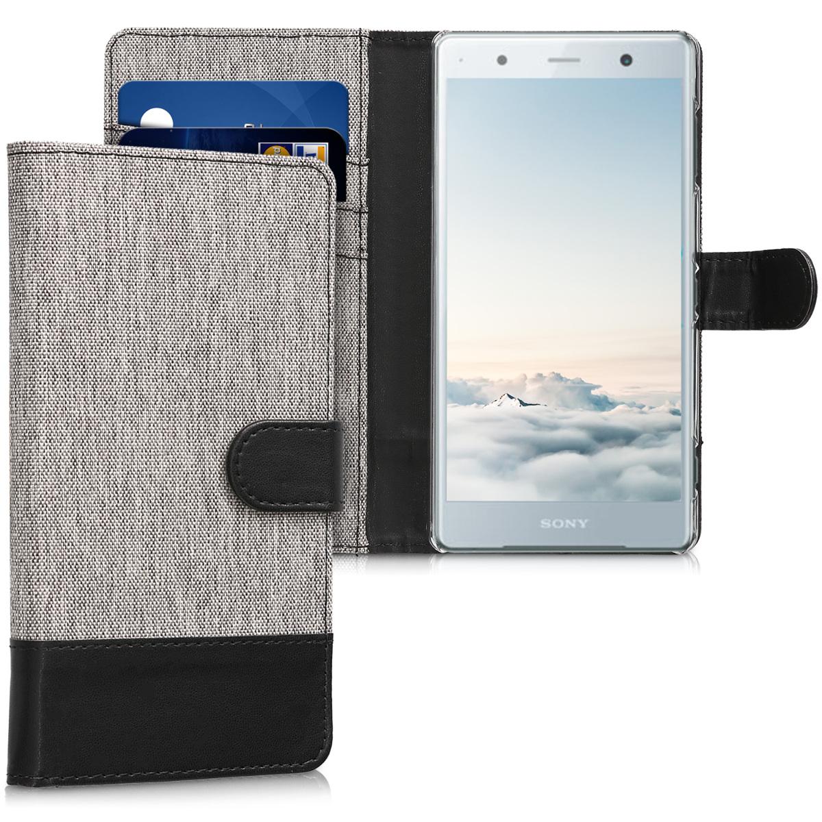 KW Θήκη Πορτοφόλι Sony Xperia XZ2 Premium - Συνθετικό δέρμα - Grey / Black (45013.01)